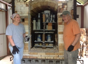 Kim and Dean Dixson about to unstack the me salt kiln.